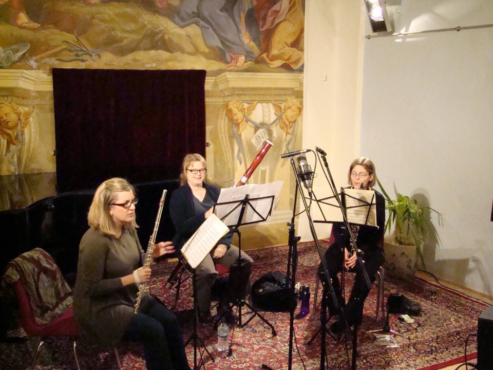 Recording in Slovenia with Nicole Molumby, flute, and Leslie Moreau, clarinet