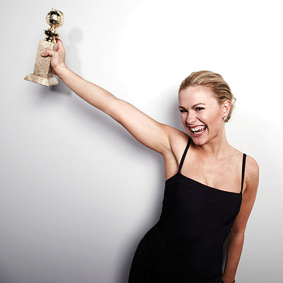 """This is heavy.  My trainer should be proud!"" Paquin picked up the award for Best Actress in a TV Series—Drama. Her trainer Clay Burwell, owner of High Performance Gym and seen as the workout maestro on the Bravo show Make Me A Supermodel, has Paquin looking great! source: FitCeleb.com"