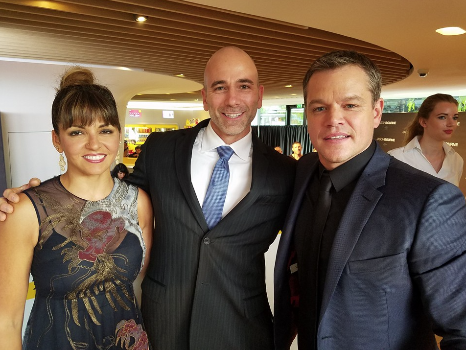 Clay with Matt Damon and wife Luciana Barroso at the French premiere of Jason Bourne, 2016.
