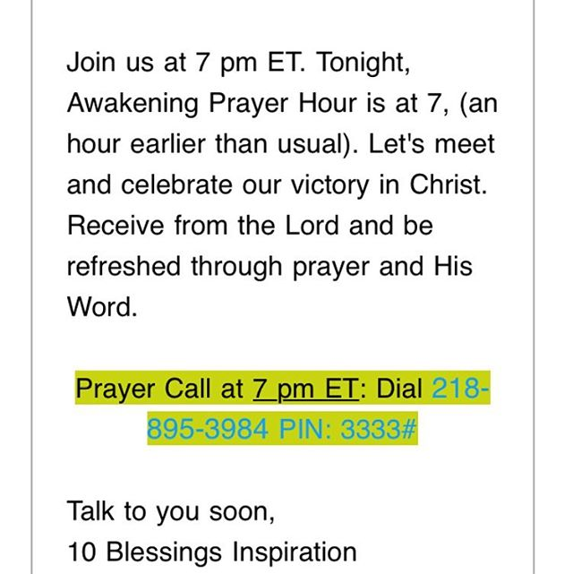 Join us for prayer at 7pm ET! Tonight Awakening Prayer Hour is 1 hour earlier than normal.