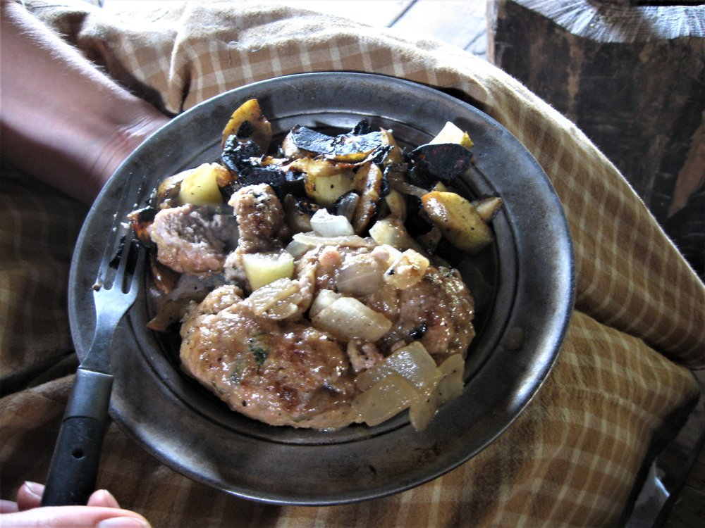 63 Sunday dinner pork sausages with lovage and fried onions and apples.jpg