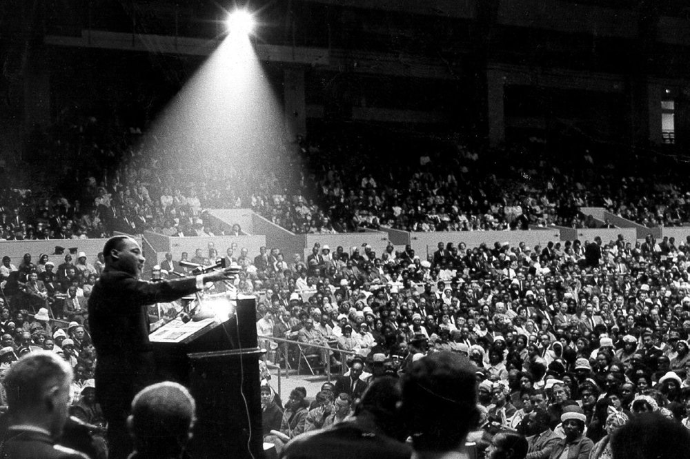 Reverend Dr. Martin Luther King Jr., speaking the night of April 3, 1968 at the Mason Temple (Church of God in Christ Headquarters), Memphis, Tennessee.