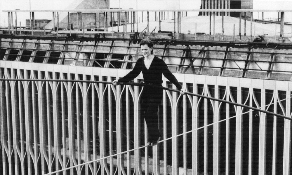 Philippe Petit walking between the towers of the World Trade Center on August 7, 1974. Like most of our classes, this one covered a log to territory including:  1) songs about political/social events; 2) iconic moments in American history 3) the beginnings of art and faith, from the Paleolithic to the birth of monotheism; 4) Springsteen's song My City of Ruins 5) many aspects of 9/11 and how artists expressed themselves and memorialized this event 6) Philippe Petit's walk between the Twin Towers. Questions to discuss are below. Pick ONE of the three. I consider question #3 especially challenging. Answers to #3 will be eligible for double points.  1. What most surprised you about any of the content of this class? Be very specific. What about it surprised you? Why, exactly? 2. What role does religion or spirituality play in your life? If you choose this question you MUST contextualize your answer with concepts we covered in class. For example: you can reference Dr. King, the words of Bruce Springsteen's song, or anything else. But! You must be specific.  3. Art is about TRANSFORMATION. Pick ANY topic discussed today. (See the list above #1 - 6.   In what ways did ONE of those things transform A) this country B) You.   You must pick just ONE topic. But then you have to answer as to how the country and you were changed (transformed) by this event AND (if applicable), art made about this subject.  THIS BLOG POST OPENED AT 4:30 PM ON MONDAY. IT WILL BE OPEN UNTIL 10 PM ON SUNDAY.