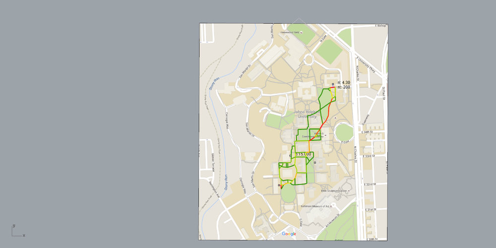 Potential routes through Johns Hopkins Campus between two points.