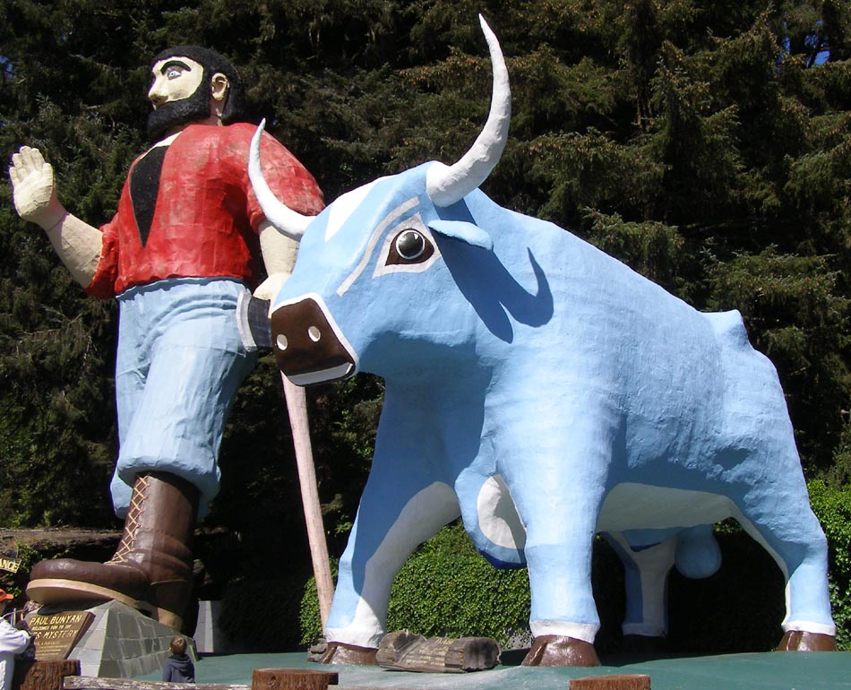 "Paul Bunyan and his ""babe"" ready to move forward..."