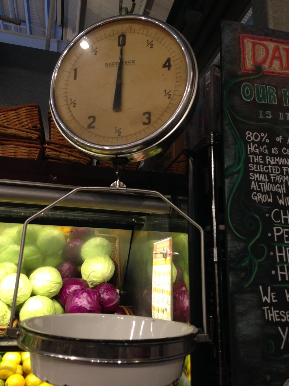 Vintage scale at the Hudson Greens & Goods at the Oxbow Public Market in Napa