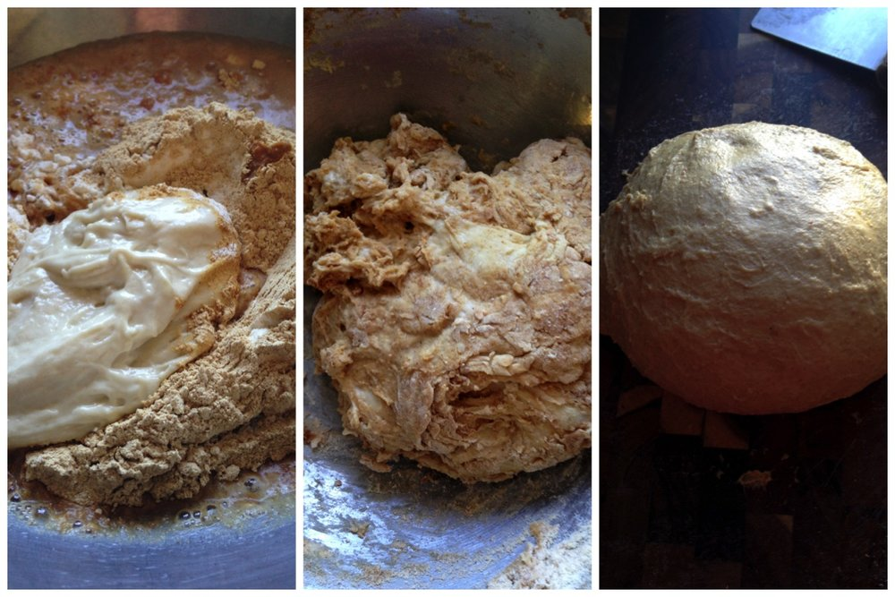 1. Before mixing 2. After mixing until just moistened. 3. After adding salt and kneading(a little too long)