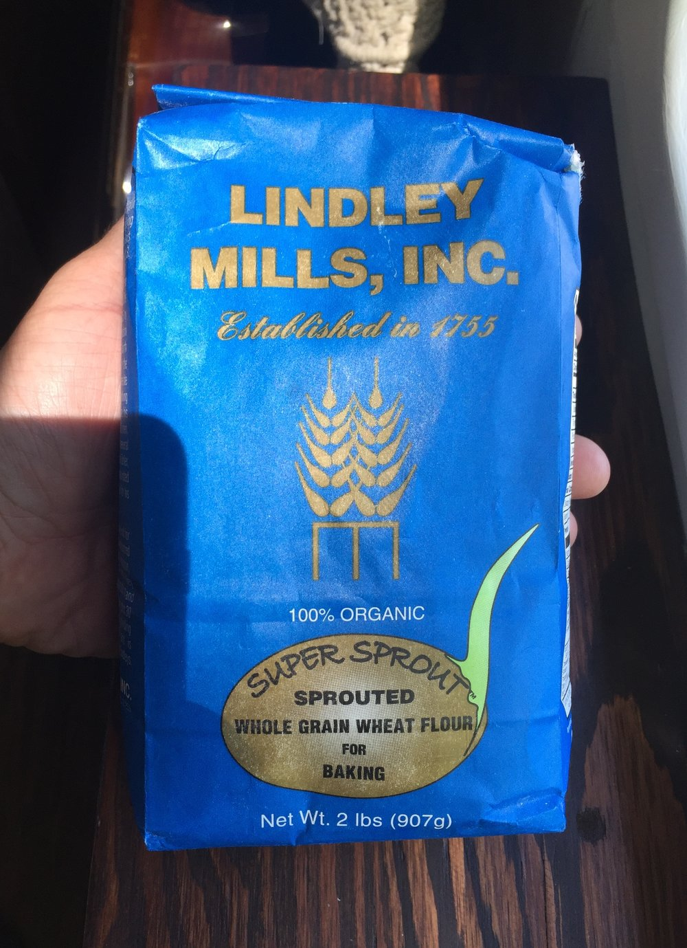 Sprouted Whole Wheat Flour from Lindley Mills, which has been in the USA before it was called the USA, 1755, and still run by the Lindley family, some 9 generations later.
