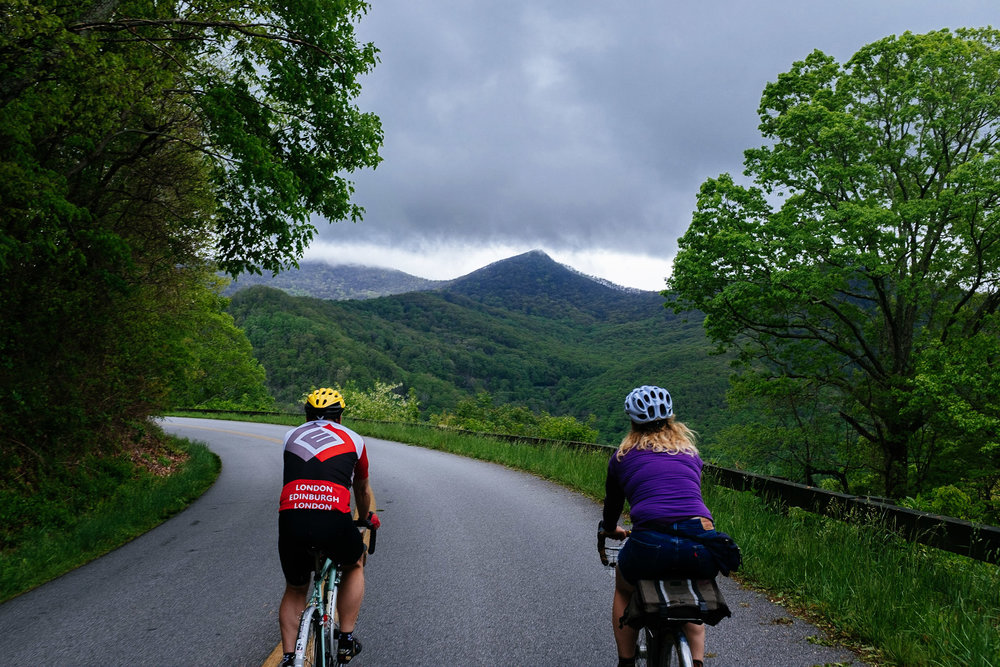 Riding with John along the Blue Ridge Parkway in North Carolina