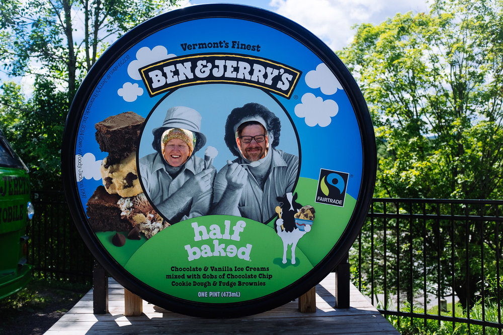 Me and John at the Ben & Jerry's factory in Waterbury, VT