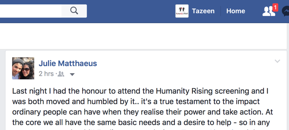 Facebook Feedback for Humanity Rising