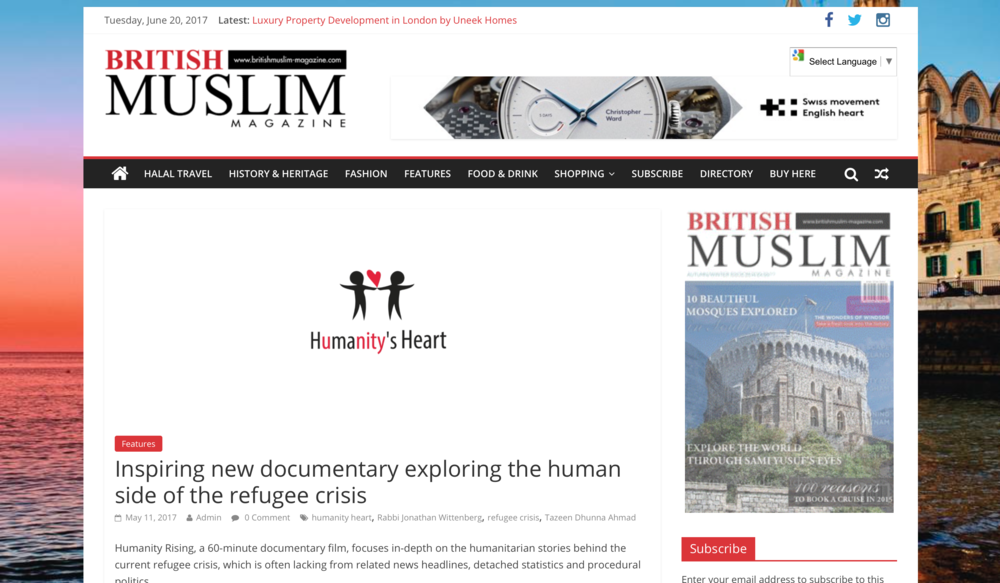 British Muslim Magazine article about Humanity Rising film screening