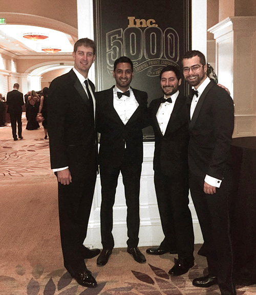 Our executive team at the INC 5000 Gala:  Eli Robinson  (COO),  Sandeep Kella  (Co-Founder), Me/ Kayvon Bina  (Co-Founder),  Kevin Dolan  (CTO)