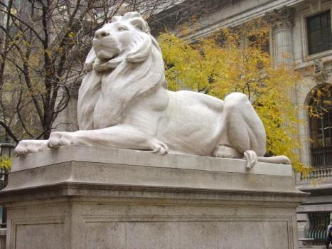 """Patience,"" one of New York Public Library's marble lions"