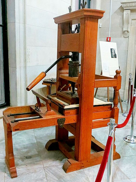 18th c. press in the Federal Hall's exhibit on the Zenger Trial
