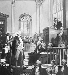 Illustration of Hamilton speaking at the Zenger Trial