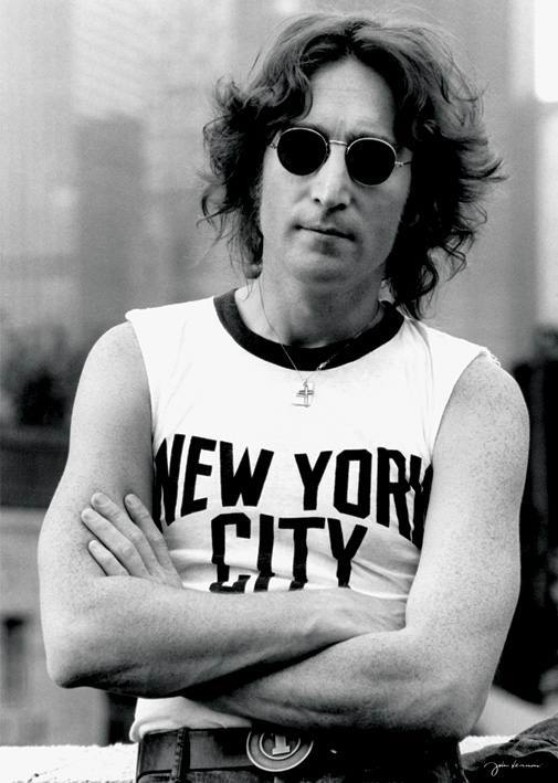 Iconic photo by Bob Gruen of John Lennon sporting a New York City t-shirt