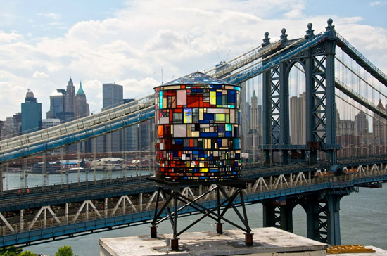 One of Tom Fruin's water tower sculptures near the Manhattan Bridge in DUMBO