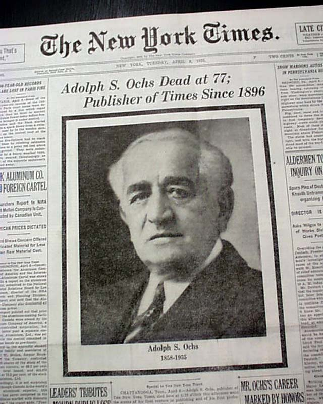 Adolph Ochs, publisher of the New York Times