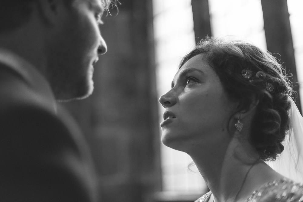 Intimate moment with bride and groom Croston Church Lancashire