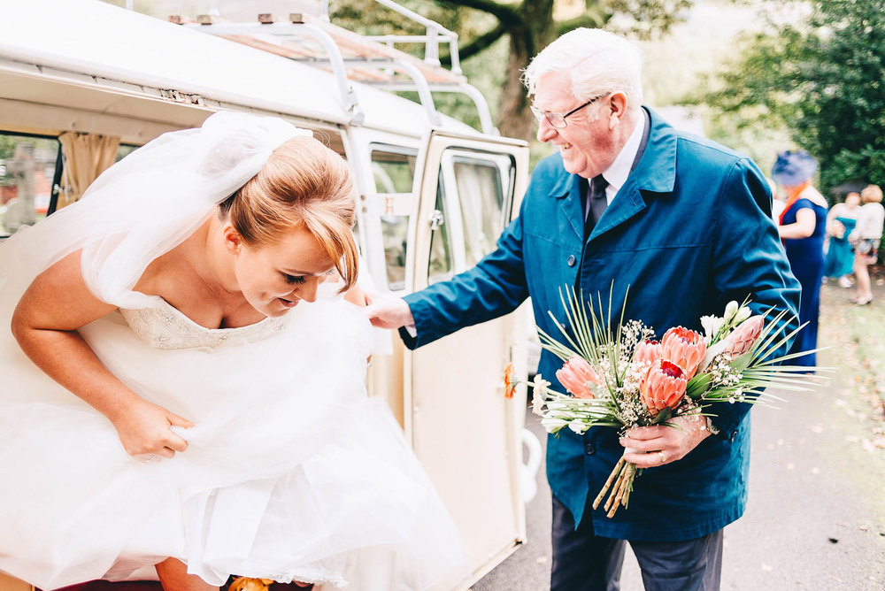 Bride exits campervan