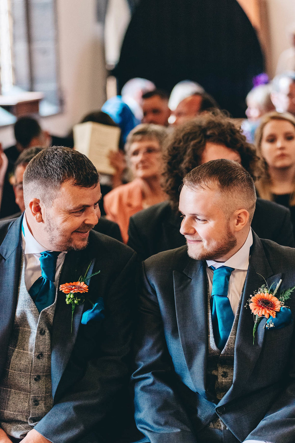 Groom and bestman talk nervously