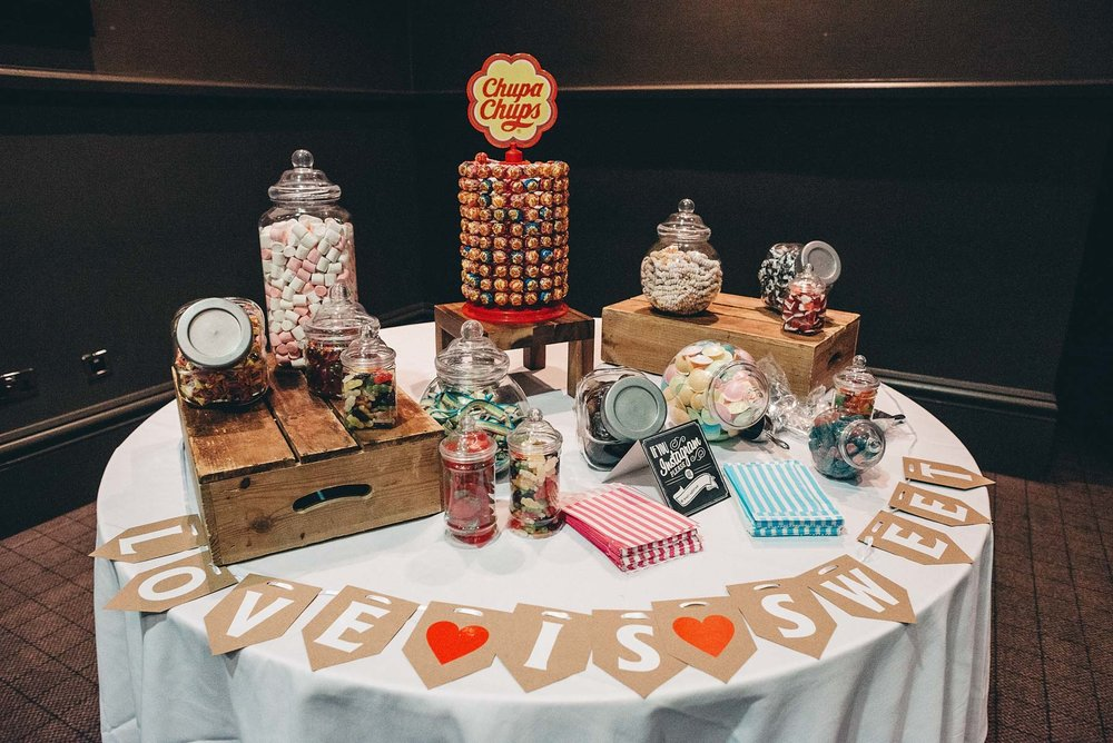 A table of sweets in a wedding Reception