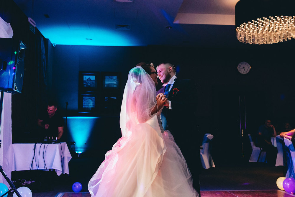 First dance during wedding reception at Village hotel Ashton