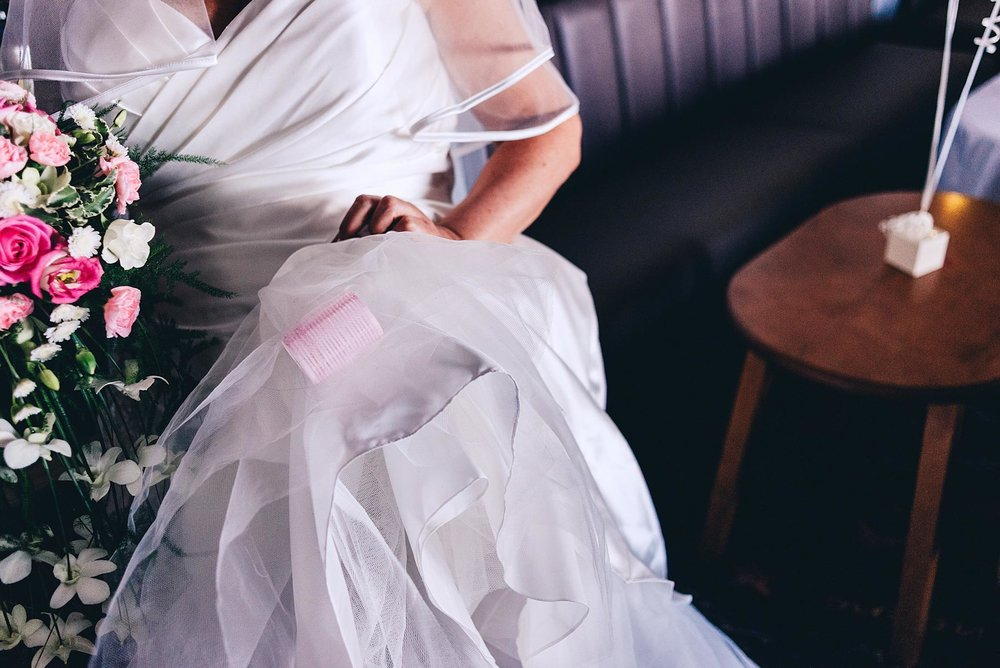 Bride has roller stuck in her dress