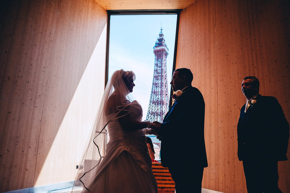 Bride and Groom say their vows in front of Blackpool tower