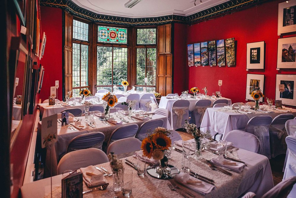 Didsbury Parsonage room set up for wedding meal
