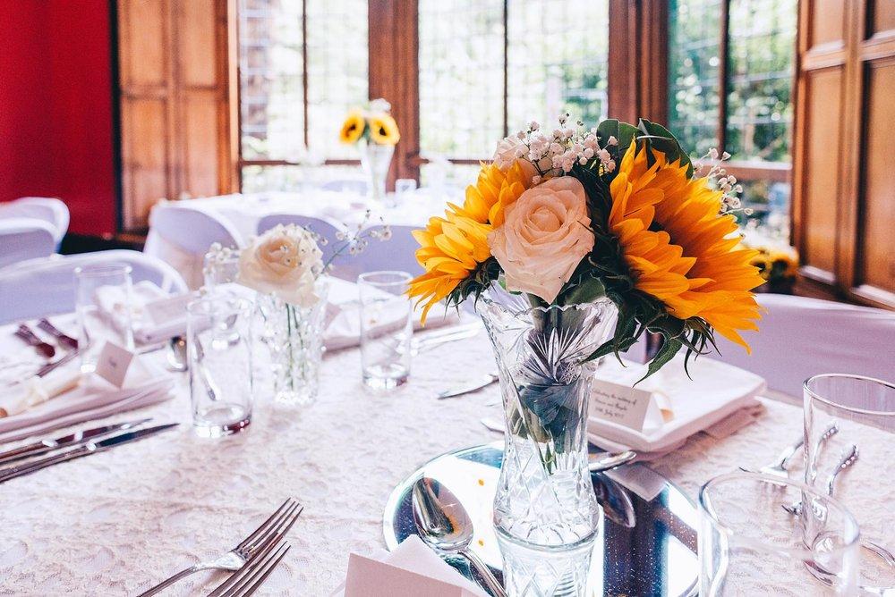 Sun flowers on wedding table