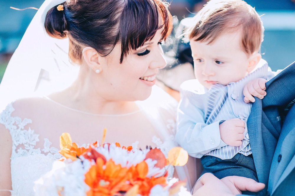 Bride and son share moment
