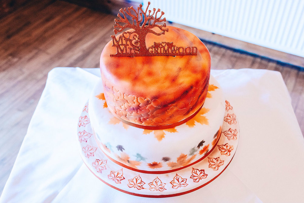 Bright orange wedding cake