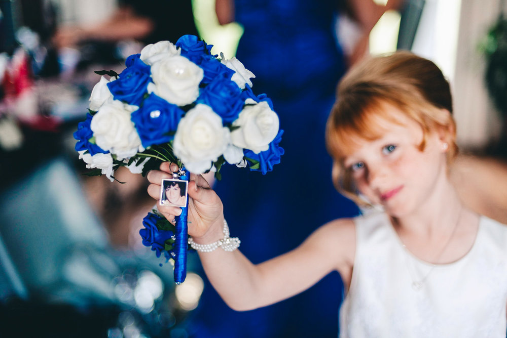 Girl shows bouquet