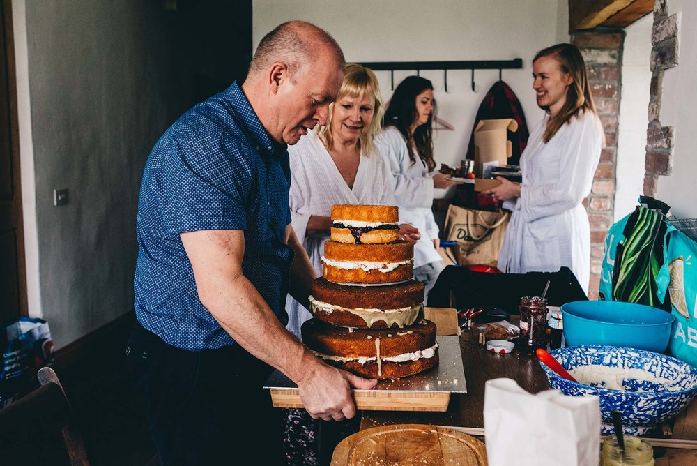 Dad picks up wedding cake