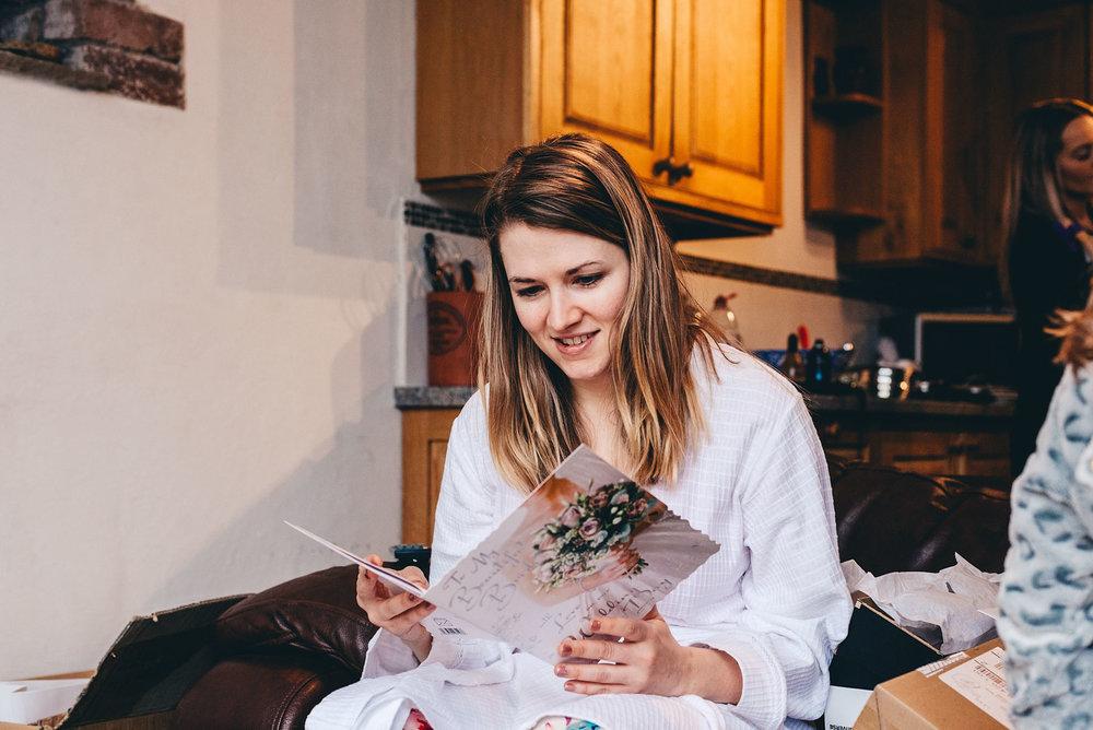 Bride reads emotional card