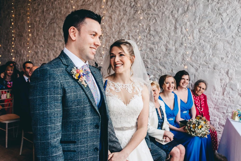 Bride is overjoyed when seeing her partner at a wedding at Rosedew Farm Llantwit Major South Wales