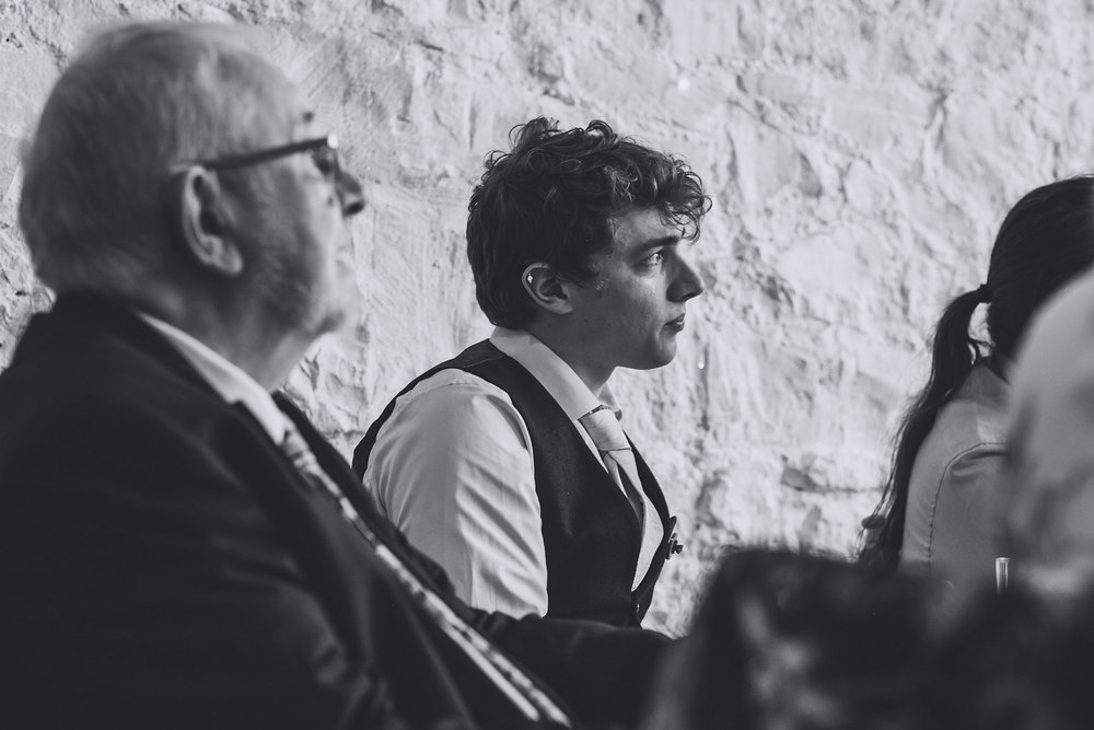 Wedding guest cries as he listens to speeches at Rosedew Farm Llantwit Major, South Wales