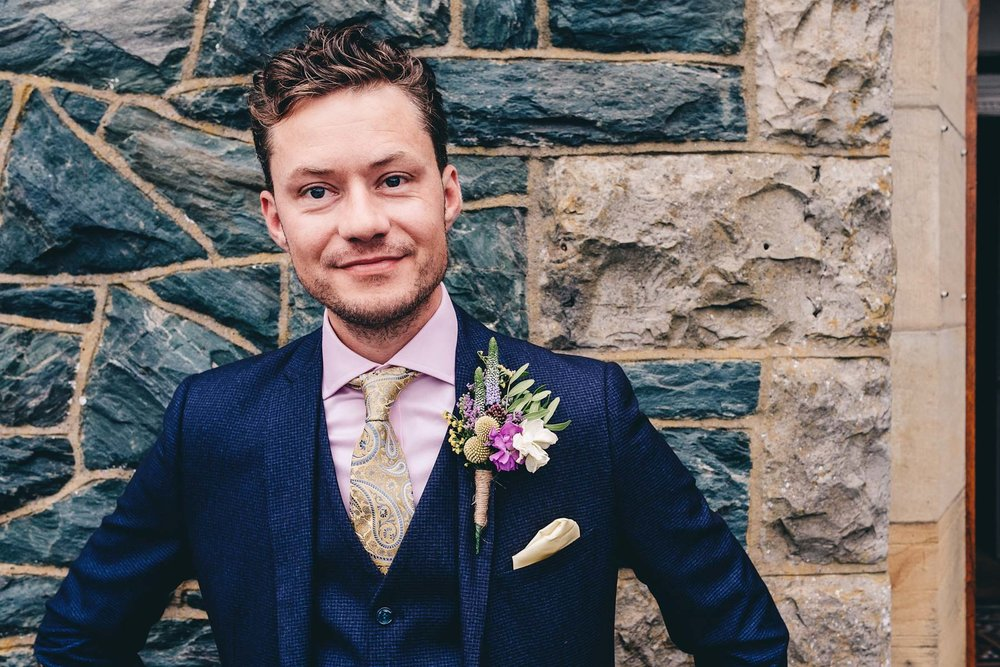 Close up photo of groom