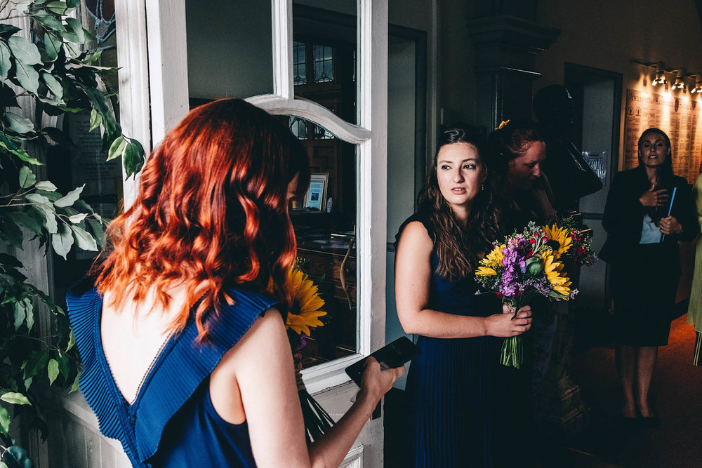 Bridesmaids wait for the bride on her wedding day