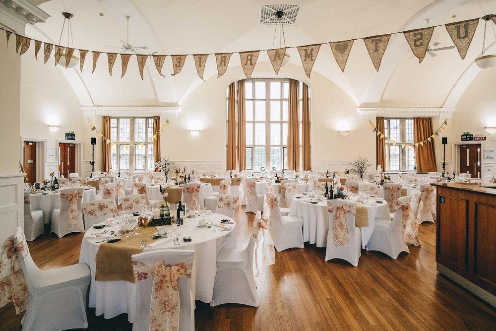 Wide shot at Hugh Owens Hall on a wedding day