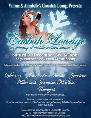 The Casbah Lounge event at Annabelle's has raised over $30,000 for local families and organizations over the past 9 years.  It is a wonderful evening of entertainment featuring over 20 performers.  2017 Dates: 2017 Schedule: Saturday March 4th Saturday June 10th Saturday August 26th Saturday December 2nd