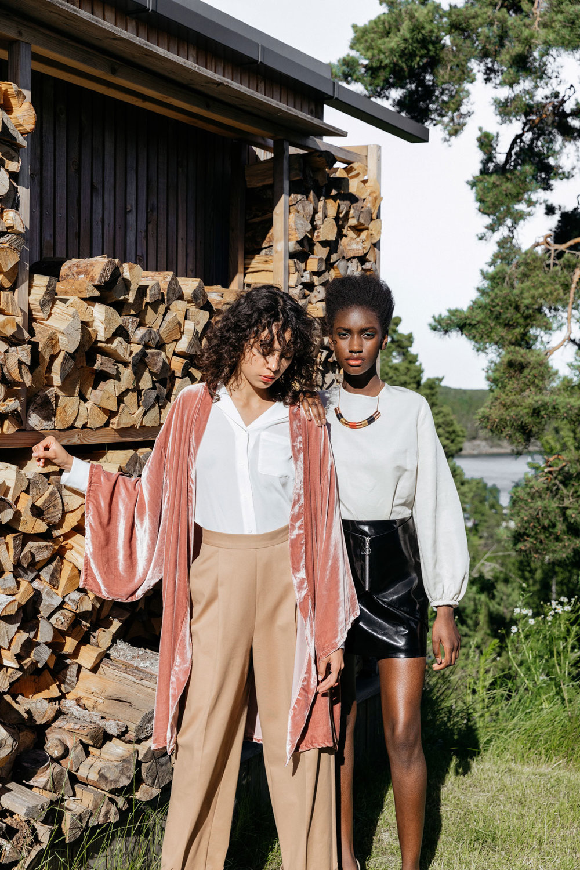 ENERI  Hedda Camel Trouser  (left) and  Anna-Britt Blouse  (right)
