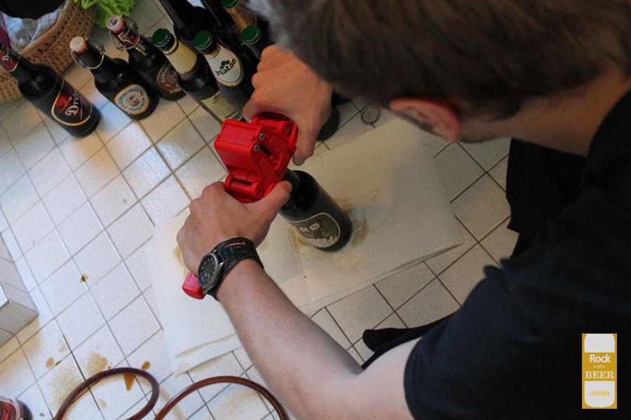 Eriks capping a bottle on bottling day