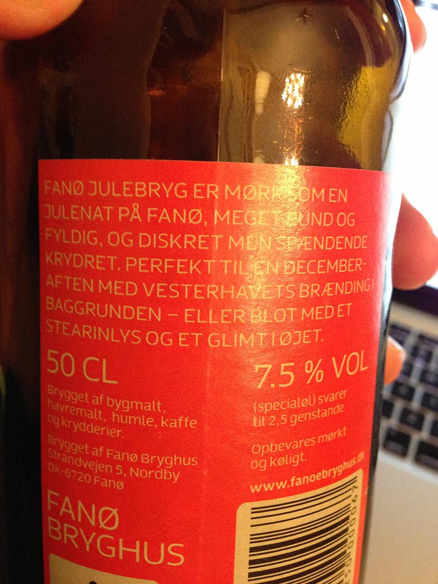 Fanø Julebryg label
