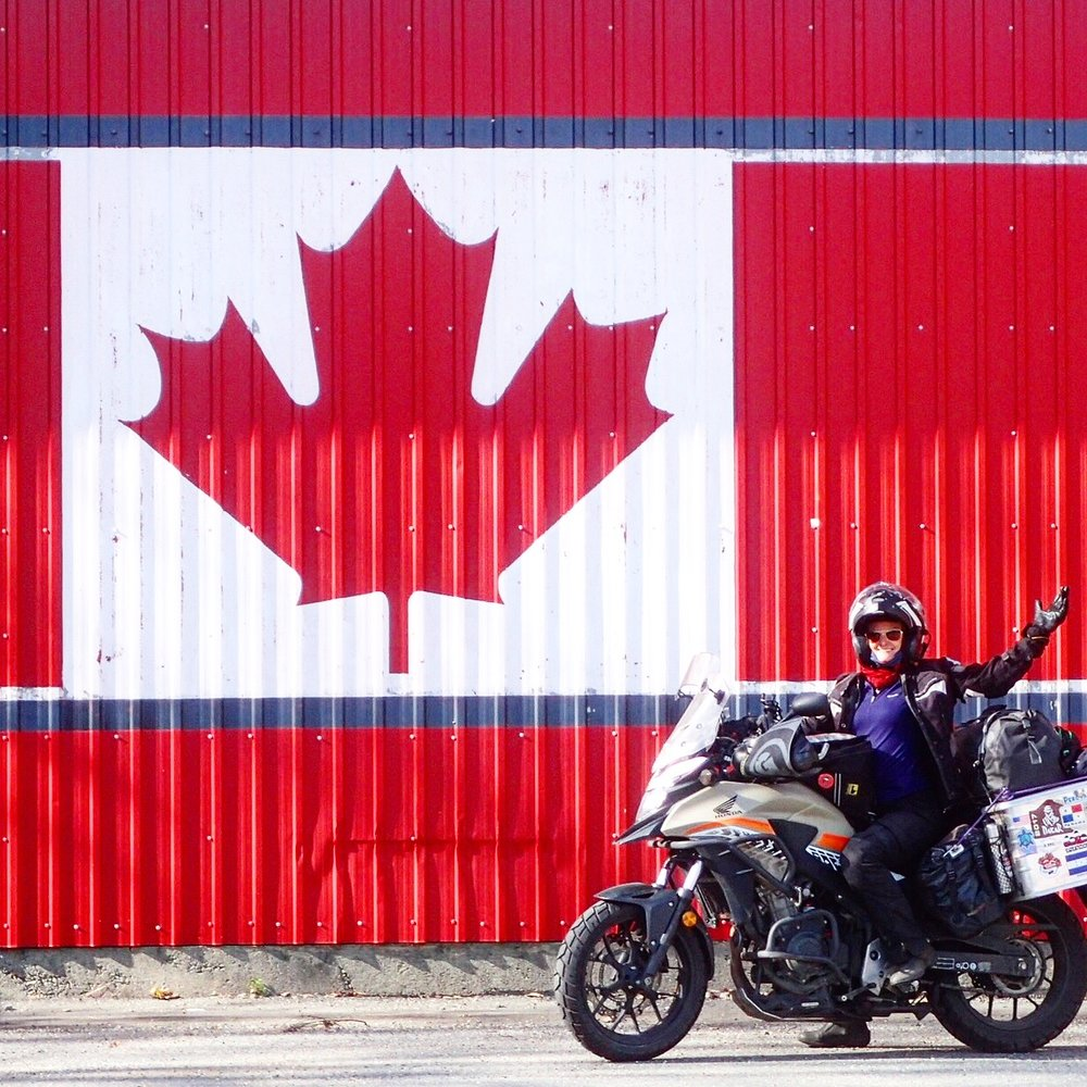 Loud and proud - arriving in Canada 6 months and around 30,000km into the trip
