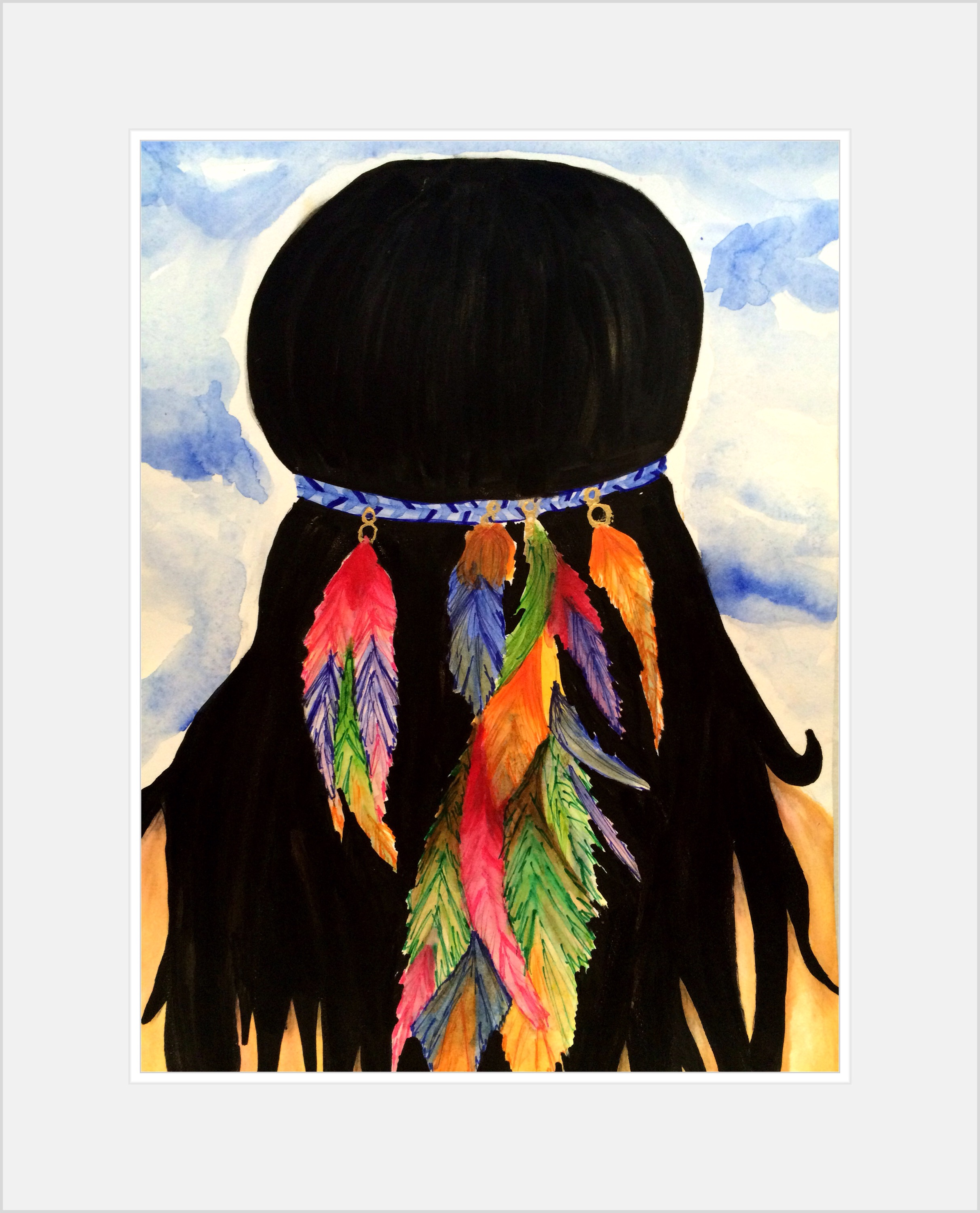 the girl with the feather in her hair