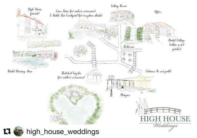 A lovely team to work with and oh what a venue! 💕  #Repost @high_house_weddings ・・・ Our brilliant new map of High House by the lovely Holly @gingerandfraggle showing all of our lovely spaces. We love it 💚 #wedding #weddingvenue #highhouseweddings #sitemap #design #weddingvenueessex #weddingvenuehunting #outdoorwedding #barnwedding #garden #gardenwedding #gardenweddingvenue #love #bride #groom #heart #marquee #bridalcottage #luxury #secretgarden #awardwinning #weddingplanning #2019wedding #2020wedding xxx