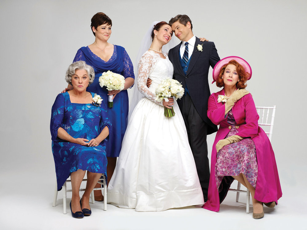 Tyne Daly, Lisa Howard, Sierra Boggess, David Burtka and Harriet Harris in It Shoulda Been You on Broadway.